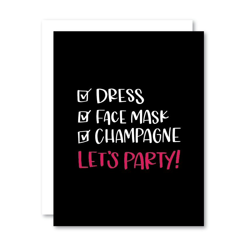 Dress, Face Mask, Champagne, Let's Party!