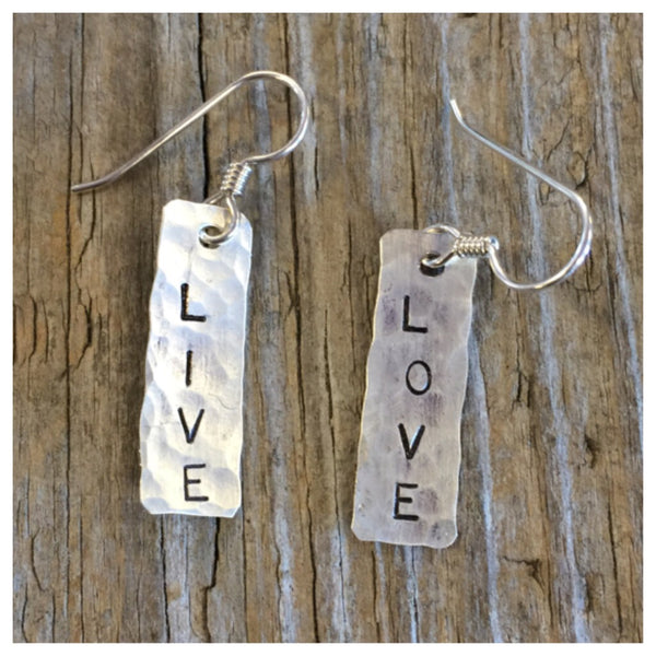 Live & Love Earrings. Sterling Silver