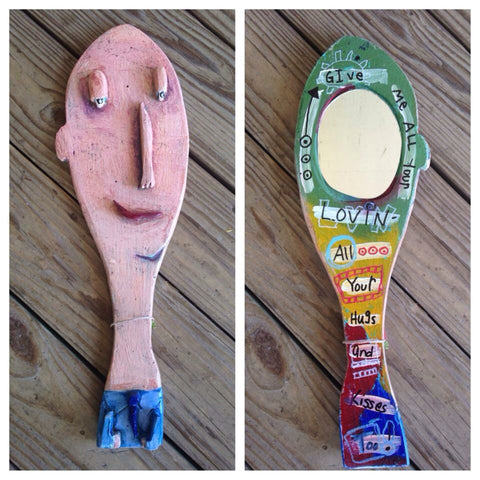Balding man Hand Mirror. Original art by Luon St.Pierre