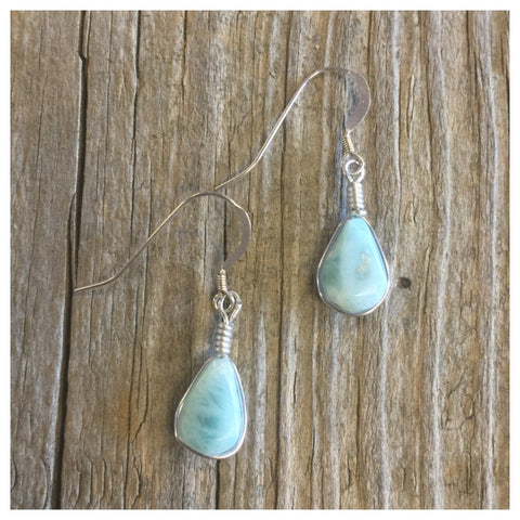 Larimar earrings sterling silver