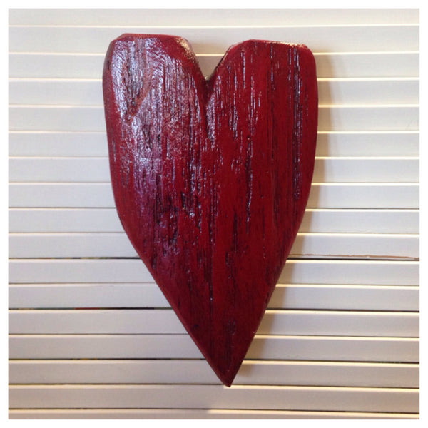 Dark Red Wooden Heart by artist Luon St.Pierre