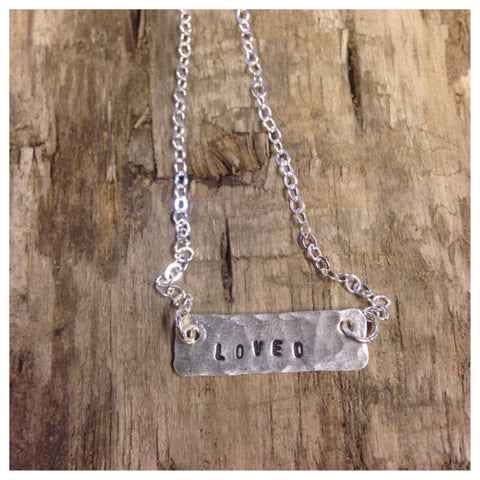 "Sterling silver necklace ""loved"""