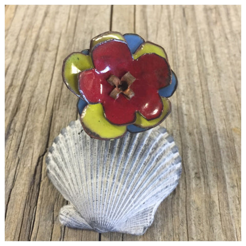 Enameled flower ring. Adjustable sterling silver band