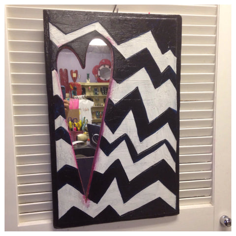 Mirror with zig-zag pattern. original art by Luon St.Pierre