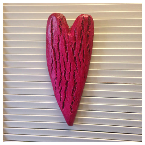 Red wooden textured Heart. original art by Luon St.Pierre