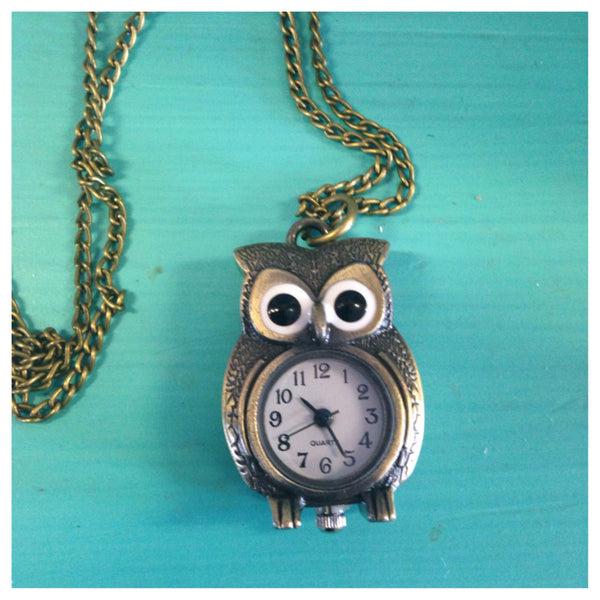 Vintage inspired owl watch necklace