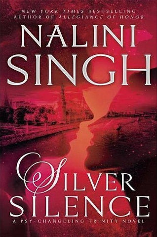 Silver Silence by Nalini Singh. A red cover with the silhouette of a man and woman about to kiss. You can see a city superimposed over the image.