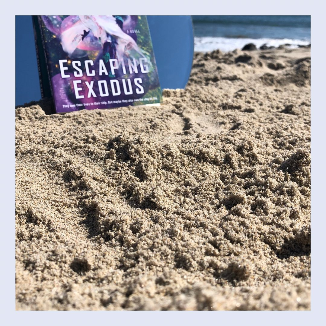 Escaping Exodus by Nicky Drayden. The book sits on top of sand, against a mirror. Behind it is the ocean.