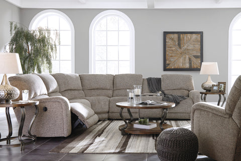 Pittsfield Power Reclining Sectional w/Console - Fossil