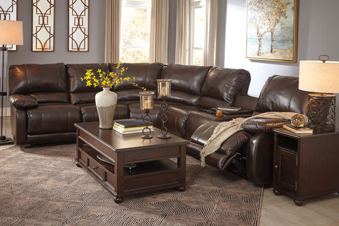 Hallettsville Reclining Sectional w/Console - Saddle