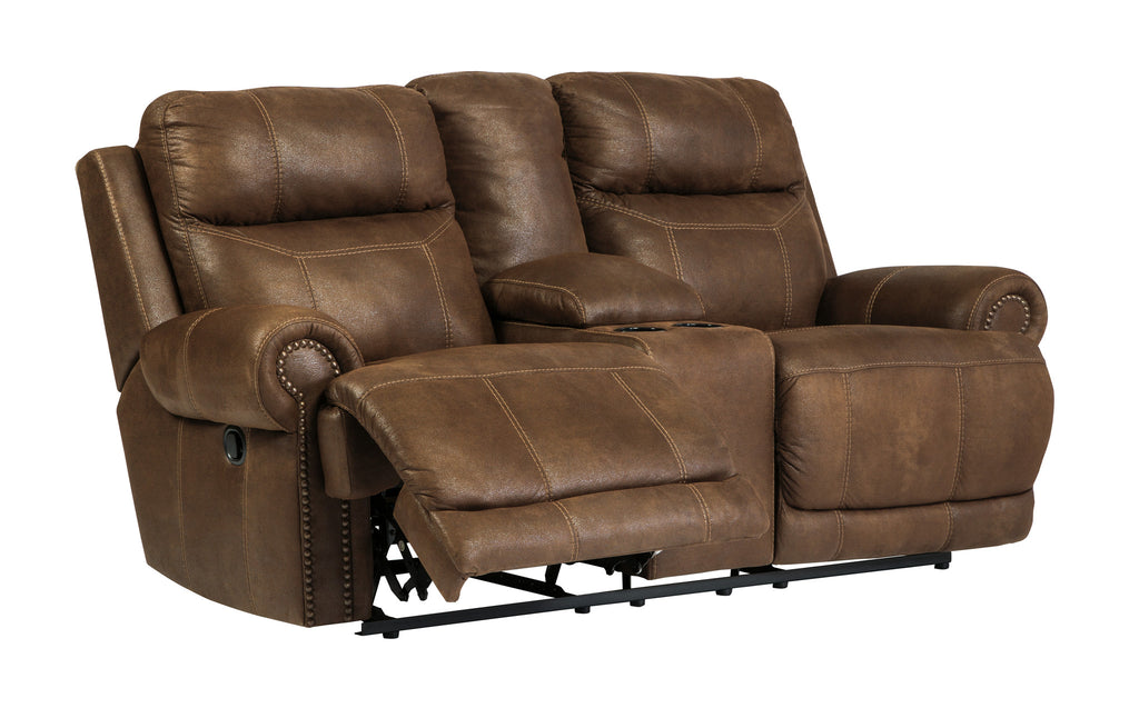 Austere Double Reclining Loveseat with Storage - Brown