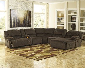 Toletta Console Sectional with Chaise - Chocolate