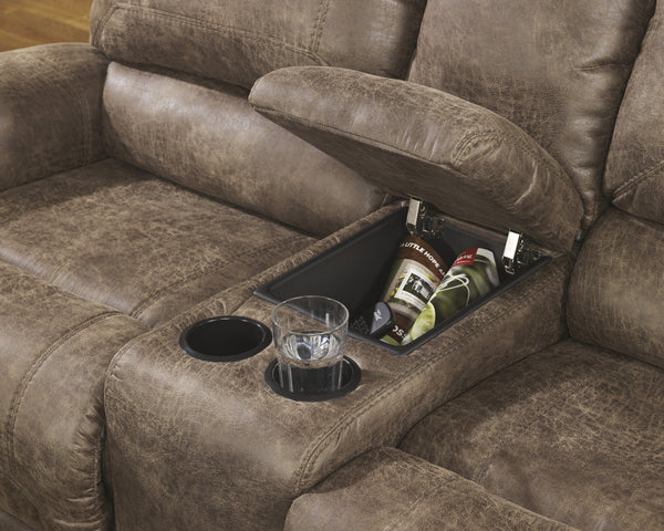 Oberson double reclining power loveseat with storage - Oberson gunsmoke reclining living room set ...