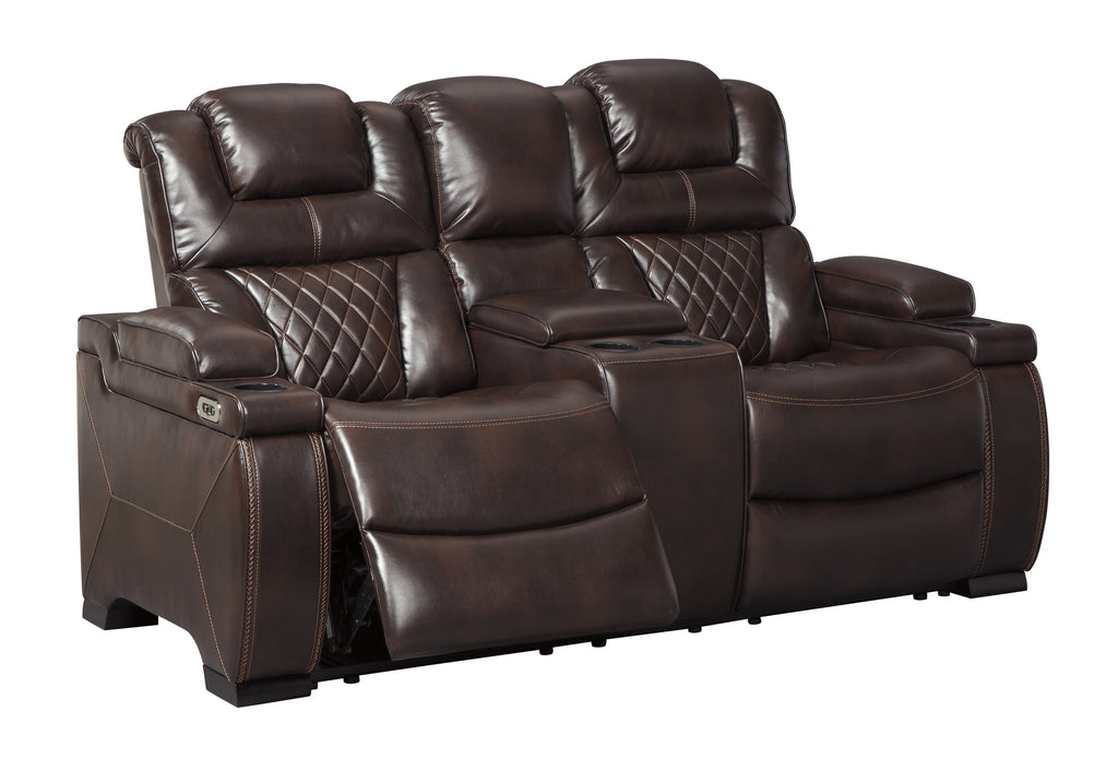 Warnerton Power Reclining Loveseat W/Adjustable Headrest - Chocolate