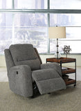 Krismen Power Rocker Recliner w/Adjustable Headrest - Charcoal