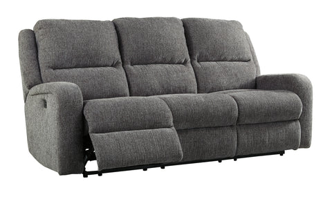 Krismen Power Reclining Sofa W/Adjustable Headrest - Charcoal