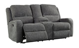 Krismen Power Reclining Loveseat W/Adjustable Headrest - Charcoal