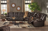 Vacherie Reclining Sectional w/Console - Chocolate