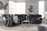 Vacherie Reclining Sectional w/Console - Black
