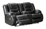 Vacherie Double Reclining Loveseat with Storage - Black