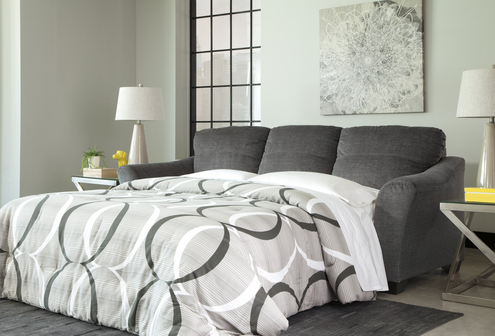 Phenomenal Braxlin Queen Chaise Sofa Bed Charcoal Onthecornerstone Fun Painted Chair Ideas Images Onthecornerstoneorg
