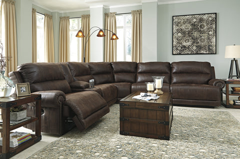 Luttrell Reclining Sectional with Console Option - Java