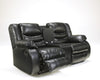 Linebacker DuraBlend Double Reclining Loveseat with Storage - Black