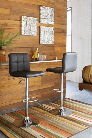 Bellatier Tall Upholstered Barstool (Set of 2) - Black/Chrome