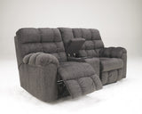 Acieona Double Reclining Loveseat with Storage - Slate