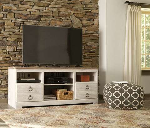 Willowton Large TV Stand w/Fireplace and Audio Options