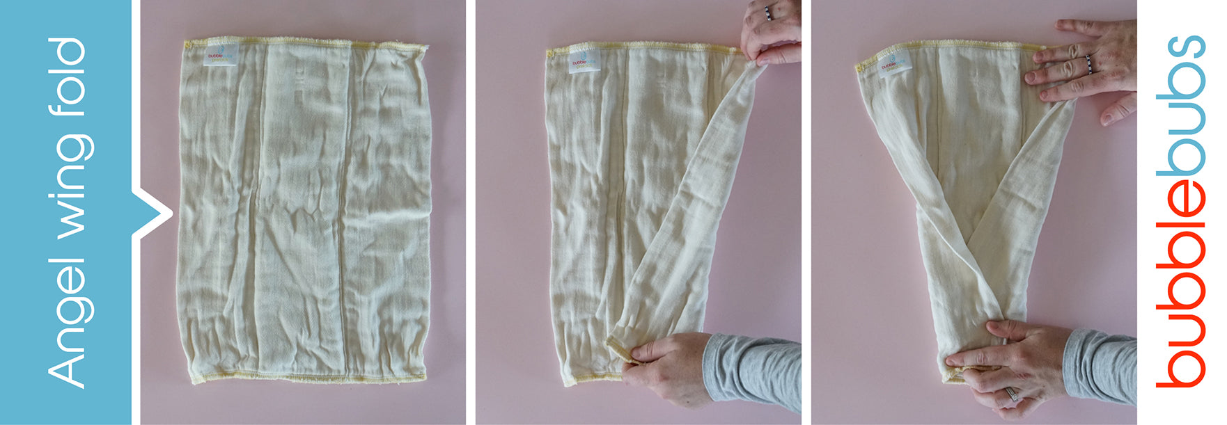 Steps to fold a prefold cloth nappy into an angel wing fold.