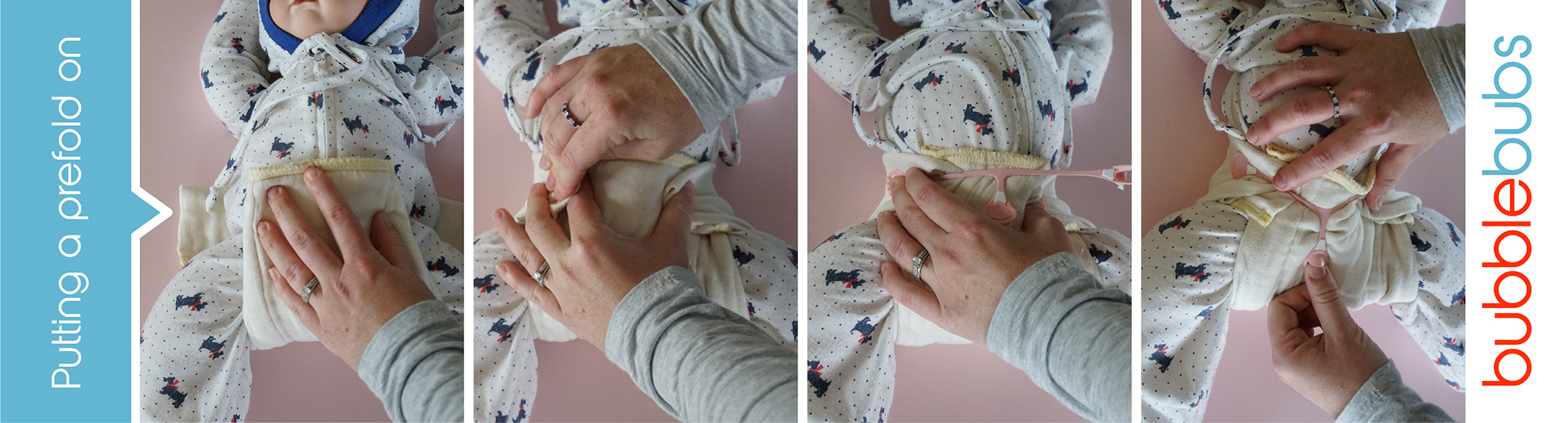 Steps to put a prefold cloth nappy onto a baby.
