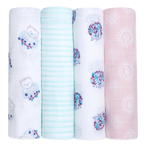 aden+anais Classic Swaddles - Thistle  4-Pack