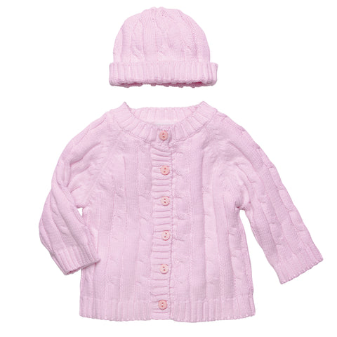 Baby Sweater and Hat in Pink - Elegant Personalized Baby Blankets  - 1