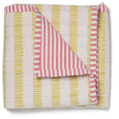 Quilted Pink/Citron Nursery Blanket - Elegant Personalized Baby Blankets
