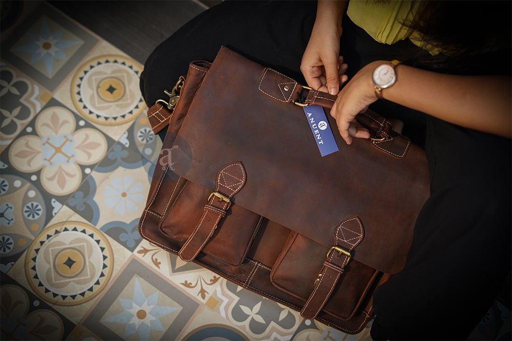 Handmade Brown Leather Laptop Bag With 2 Pockets