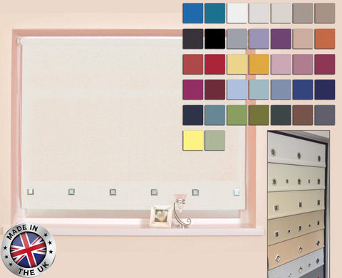MADE TO MEASURE LUXURY CHROME EYELET ROLLER BLINDS, AVAILABLE IN 37 COLOURS
