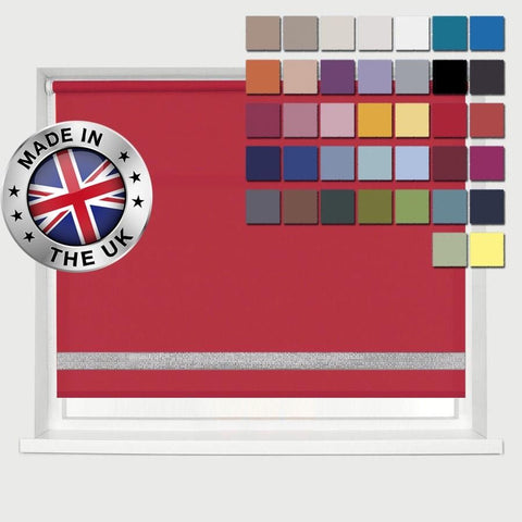 MADE TO MEASURE DIAMANTE EDGE ROLLER BLINDS, AVAILABLE IN 37 COLOURS