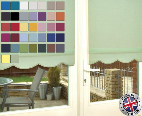 MADE TO MEASURE SCALLOP EDGE ROLLER BLINDS, AVAILABLE IN 37 COLOURS