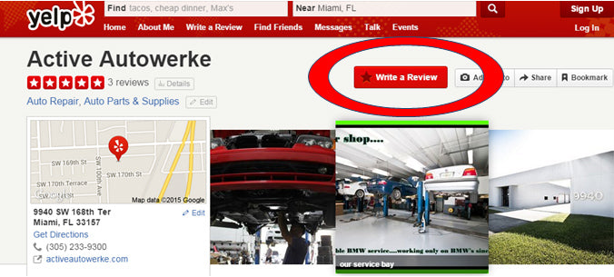 how to review active autowerke on yelp