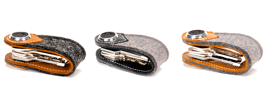 3 models of s-key leather & wool left. Elegant way to carry your keys. From s-key-shop.com