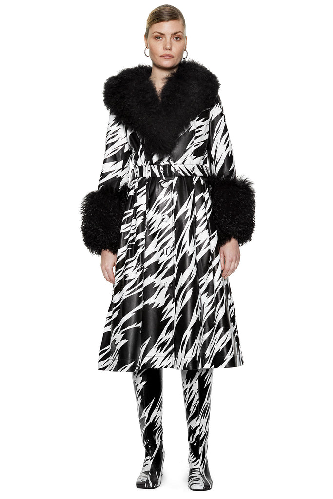 Foxy Shearling Print Black/White