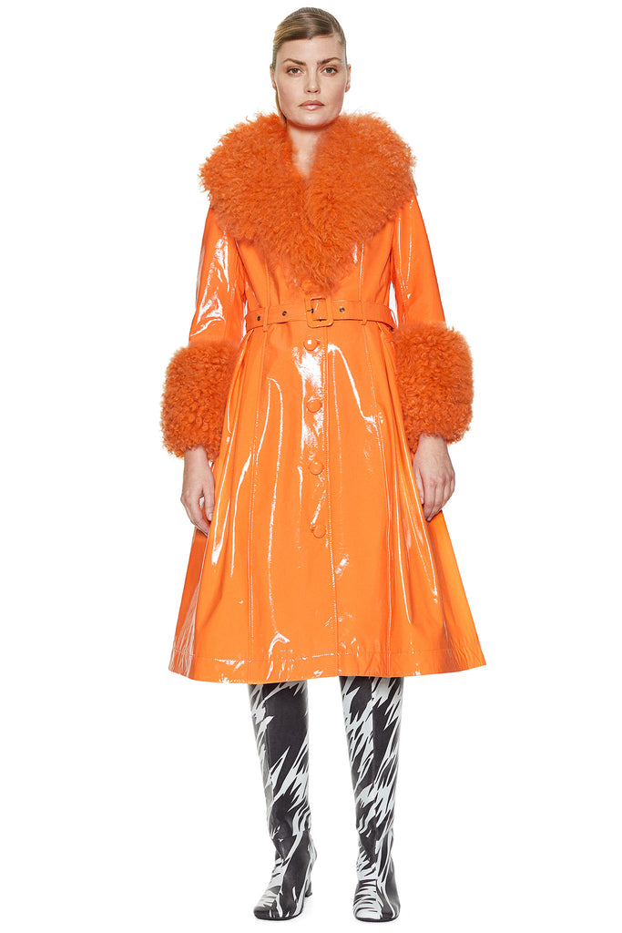 Foxy Shearling Gloss Neon Orange