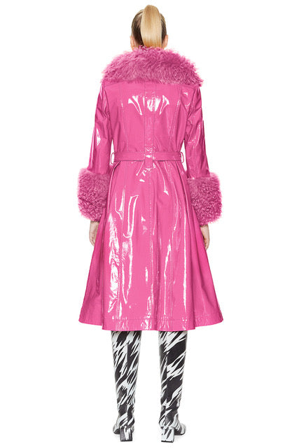 Foxy Shearling Coat — Pink Gloss