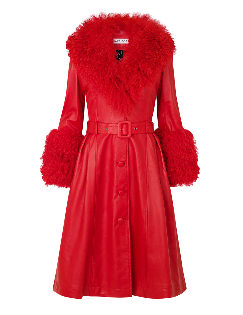 Foxy Shearling Coat — Red