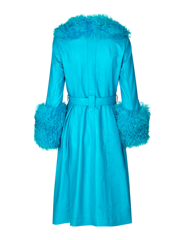 Foxy Shearling Coat — Azure Blue