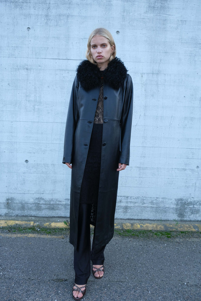 Charlot Shearling Coat — Black