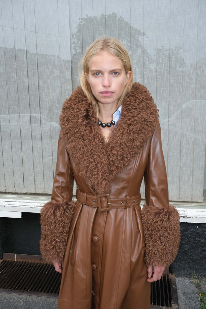 Foxy Shearling Coat — Walnut