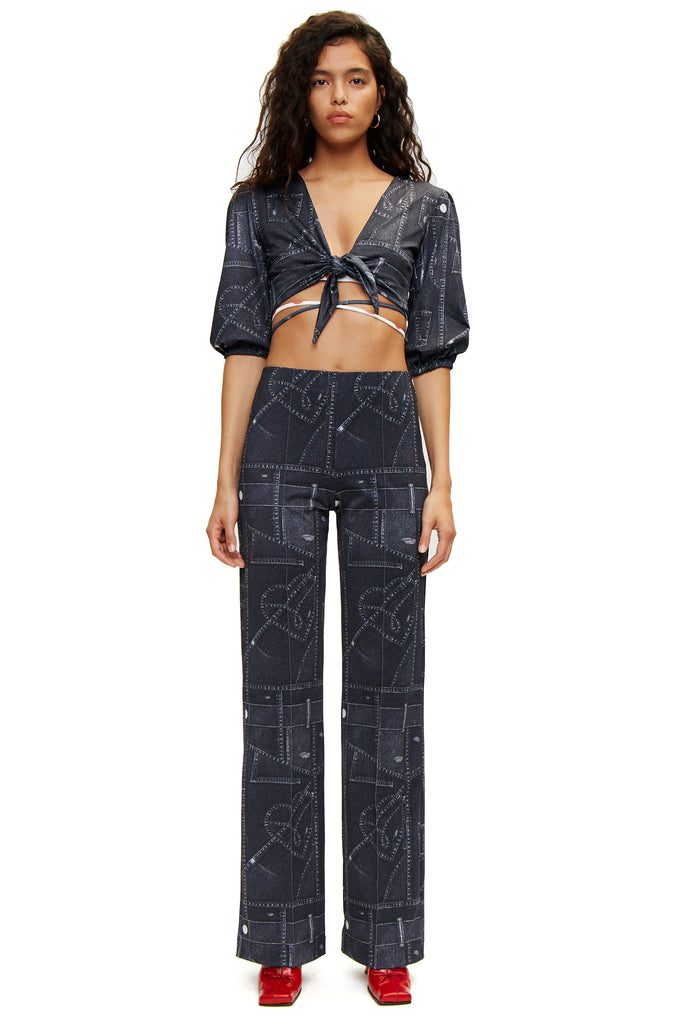Ropa Top — Denim Print