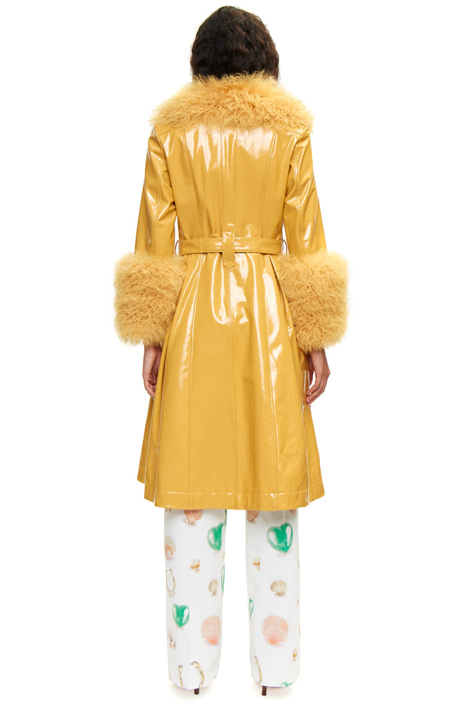 Foxy Shearling Gloss Curry Coat